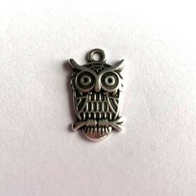 Antique Silver Plated Owl Charm 23x15x3mm Hole is 3mm Pk1
