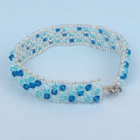 Beads Direct Blue Bicone Tennis Bracelet Kit made with Swarovski - Makes x1