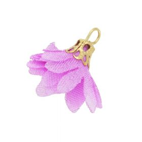 Tulle flower / with openwork tip / 18mm / Gold Plated / light purple / 4 pcs