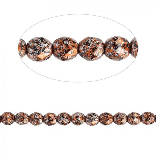 X- Preciosa Czech Fire Polished Faceted Beads 8mm Orange Tweed Pk50
