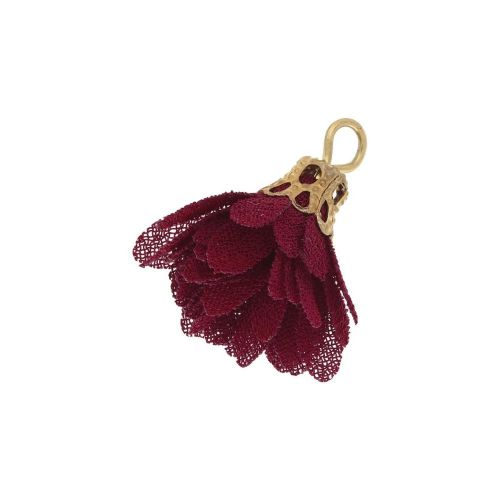Tulle flower / with openwork tip / 18mm / Gold Plated / dark red / 4 pcs