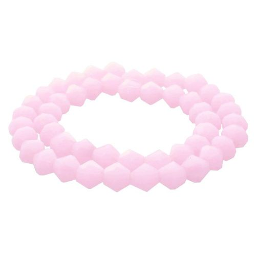 CrystaLove™ crystals / glass / bicone / 6mm / milky pink / lustered / 48pcs