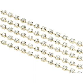 Bonny™ / cupchain / gold base / crystal / 3mm / 50cm