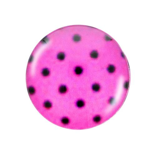 Glass cabochon with graphics K20 PT1254 / pink / 20mm / 2pcs