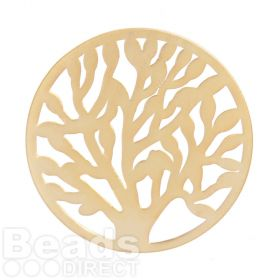 KB Matte Gold Plated Tree of Life Filigree Coin For Interchangeable Locket 32mm Pk1