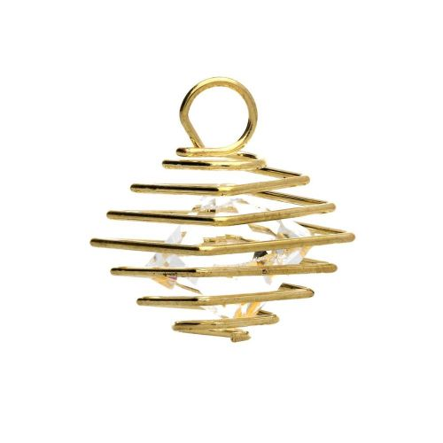 Coil with crystal / charm pendant / 16x12x12mm / light gold / 2pcs