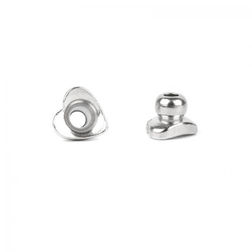 Titanium Plated Tiny Heart Cap Ends 4x5mm Pack 2