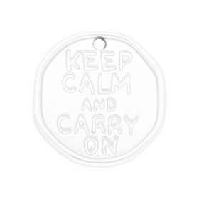 Keep calm and carry on / charm / 28x27x2mm / satin silver / 1pcs