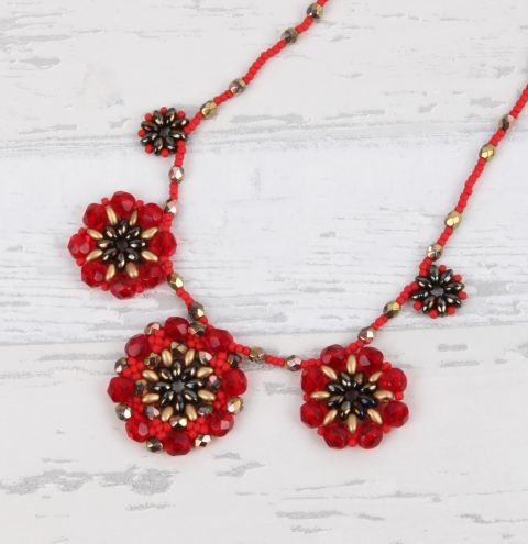 Royal Red Cluster Necklace
