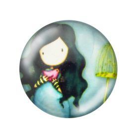Glass cabochon with graphics 25mm PT1502 / blue / 2pcs