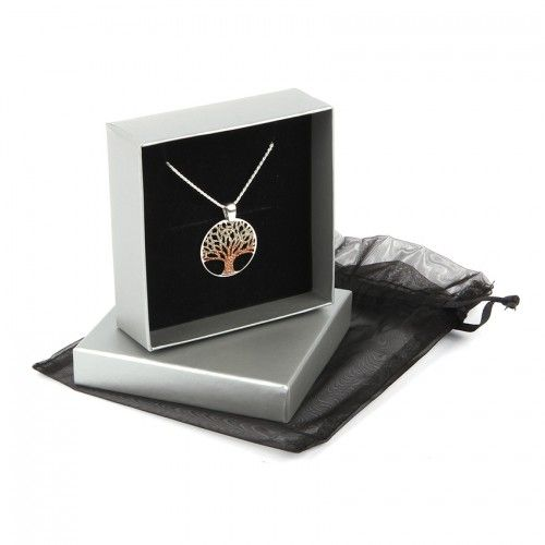 Ready To Wear Sterling Silver 925 Golden Glitter Tree of Life Necklace with Gift Box