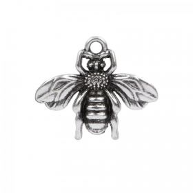 Antique Silver Plated Zamak Bee Charm 22x19mm Pk 1