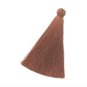 Tassel / viscose thread / 70mm / width 10mm / light brown / 1pcs