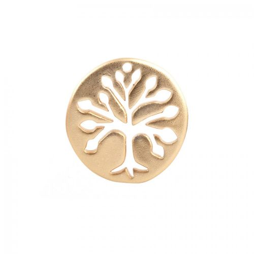 Matte Gold Plated Cut Out Tree of Life Charm 18mm Pk1