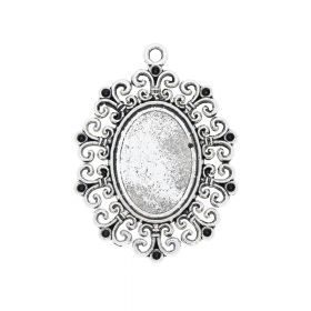 Gothic pendant / for 18x25mm cabochon / 48.5x35.5mm / silver / 2.5mm hole / 1pcs