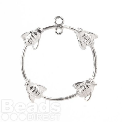 Silver Plated Ring with Wasps 2 Loops at Top 23mm Pk1