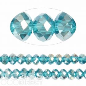 Essential Crystal Faceted 8mm Rondelle Aqua AB 72pack