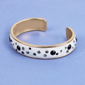 White with Black Crystal CeraLun Gold Bangle Kit made with Swarovski - Makes x1