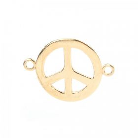 Gold Plated Sterling Silver 925 Peace Connector Charm 26mm Pk1