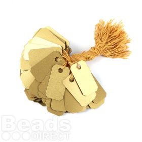 Gold PVC String Tags 13x25mm Pk100