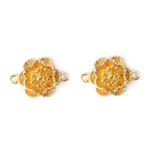 X- Gold Plated Flower Connector Charm 13mm Pk2