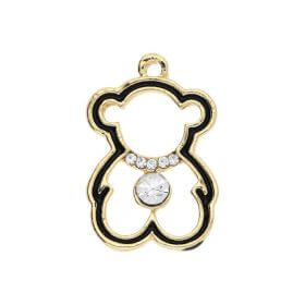 Glamm ™ Teddy Bear / charm pendant / with zircons / 23x15x4mm / gold plated / 1pcs