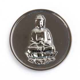 Rhodium Plated Sitting Buddha Coin Disk for Interchangeable Locket 32mm Pk1