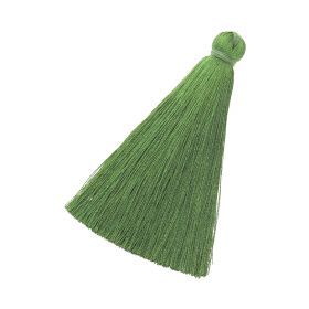 Tassel / viscose thread / 70mm / width 10mm / grass green / 1pcs