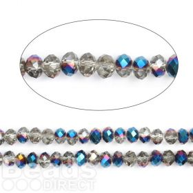 "Cobalt 1/2 Coated Essential Crystal Glass Faceted Rondelle Beads 8mm 16""Strand"
