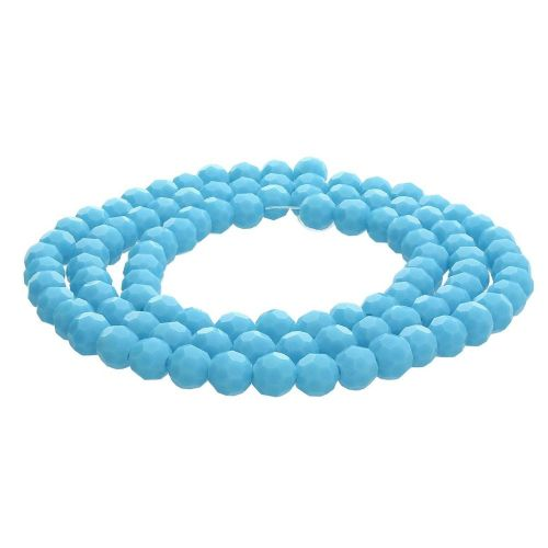 CrystaLove™ crystals / glass  / faceted round / 6mm / turquoise / lustered  / 95pcs