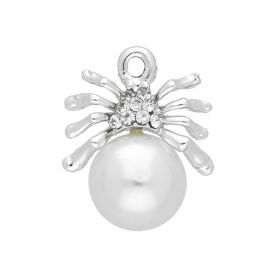 Glamm ™ Spider with pearl / charm pendant / 9 zircons / 19x15x10mm / silver / 1pcs