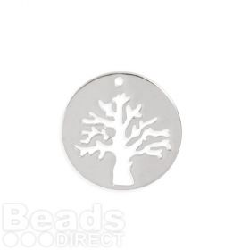 Rhodium Plated Brass Tree Cut Out Circle Charm 19mm Pk1