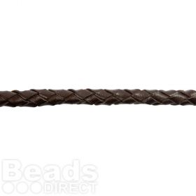 Dark Brown 5mm Braided Leather Cord Pre Cut 1 Metre Length