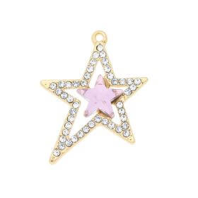 Glamm ™ Christmas / charms pendant / with cubic zirconia / 26.5x23x5.5mm / pink / gold plated / crystal / 1pcs
