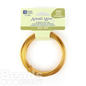 Beadalon Anodized Gold Craft Wire Aluminium 12gauge(2.1mm) 12 metre Coil
