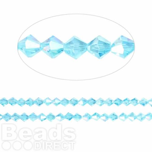 Essential Crystal 4mm Bicones Turquoise AB Pk120