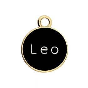 SweetCharm™ Zodiac sign leo / charm pendant / 15x12x1.5mm / gold-black / 1pcs