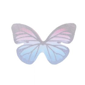 Butterfly wings / organza / 31x43mm / blue-pink / 4pcs