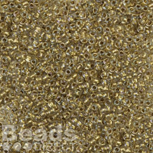Toho Size 8 Round Seed Beads Inside Colour Crystal Gold Lined 10g