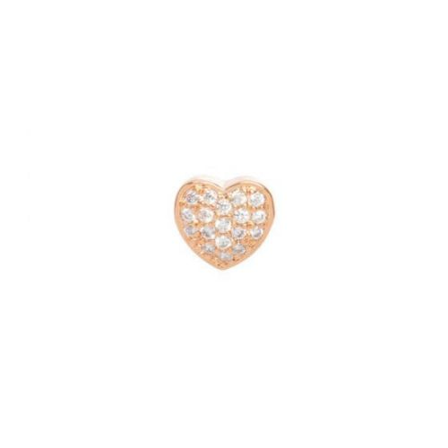 X-Rose Gold Plated Heart Slider Bead Cubic Zirconia 8mm Hole 4x6mm Pk1