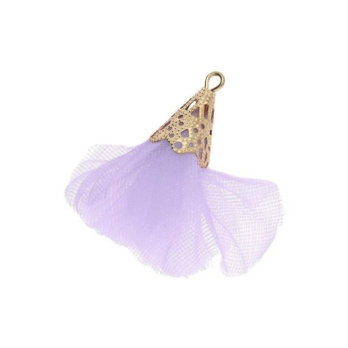 Tulle flower / with openwork tip / 30mm / Gold Plated / purple / 2 pcs
