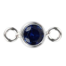 Sterling Silver 925 Sapphire CZ September Birthstone Connector 4mm Pk1