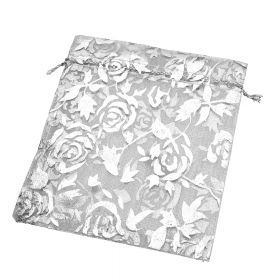 Organza bag / 10x12cm / grey with silver roses / 5pcs