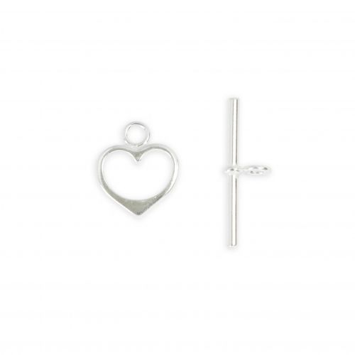 Sterling Silver 925 Heart Shape Toggle Clasp 17x26mm 1xSet