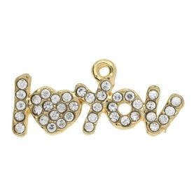 Glamm ™ I love you / charm pendant / with zircons / 12x25x2.5mm  / gold plated / 1pc