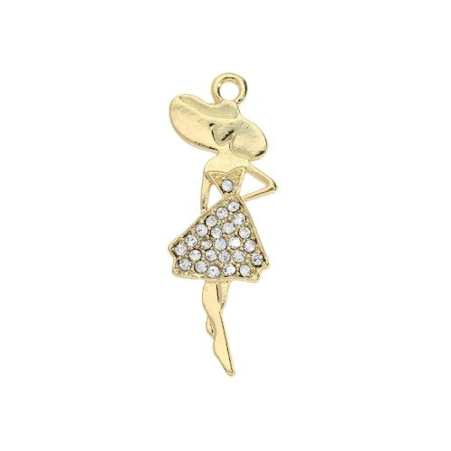 Glamm ™ Woman / charm pendant / with zircons / 36.5x13mm / gold plated / 1pcs