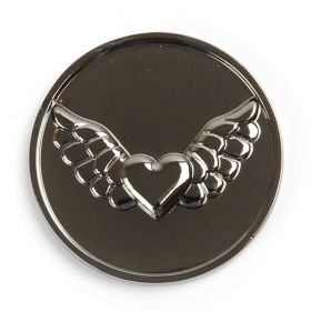 Rhodium Plated Heart and Wings Coin Disk for Interchangeable Locket 32mm Pk1