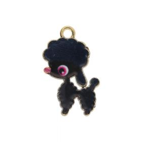 SweetCharm ™ Poodle / charm pendant / 24x14x1.5mm / gold plated / black / 1pcs