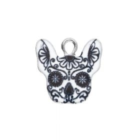 SweetCharm™ bulldog / charm pendant / 16x16x2mm / silver skull art / 2pcs