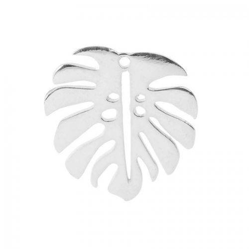 """X"" Sterling Silver 925 Leaf Charm 'Monstera' 15x17mm Pk1"